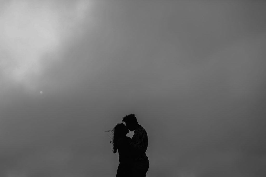 Silhouette engagement photo in San Francisco