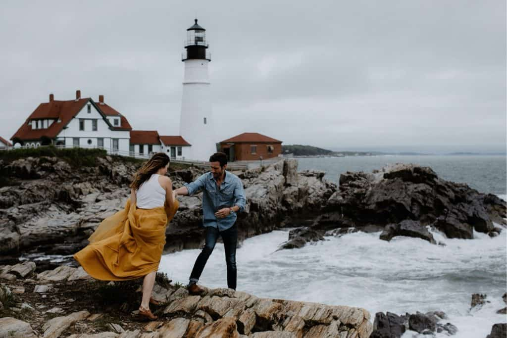 Intimate New Hampshire Wedding | Day after session at cape elizabeth lighthouse
