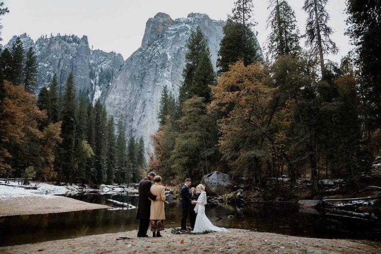 Winter Elopement Ceremony in the Yosemite valley California