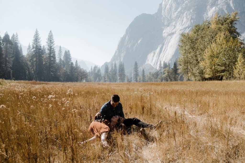 Candid moment during this engagement session in Yosemite valley