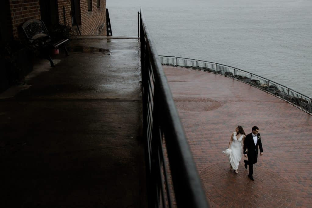 Rainy couple portrait for this wedding in Brooklyn New York