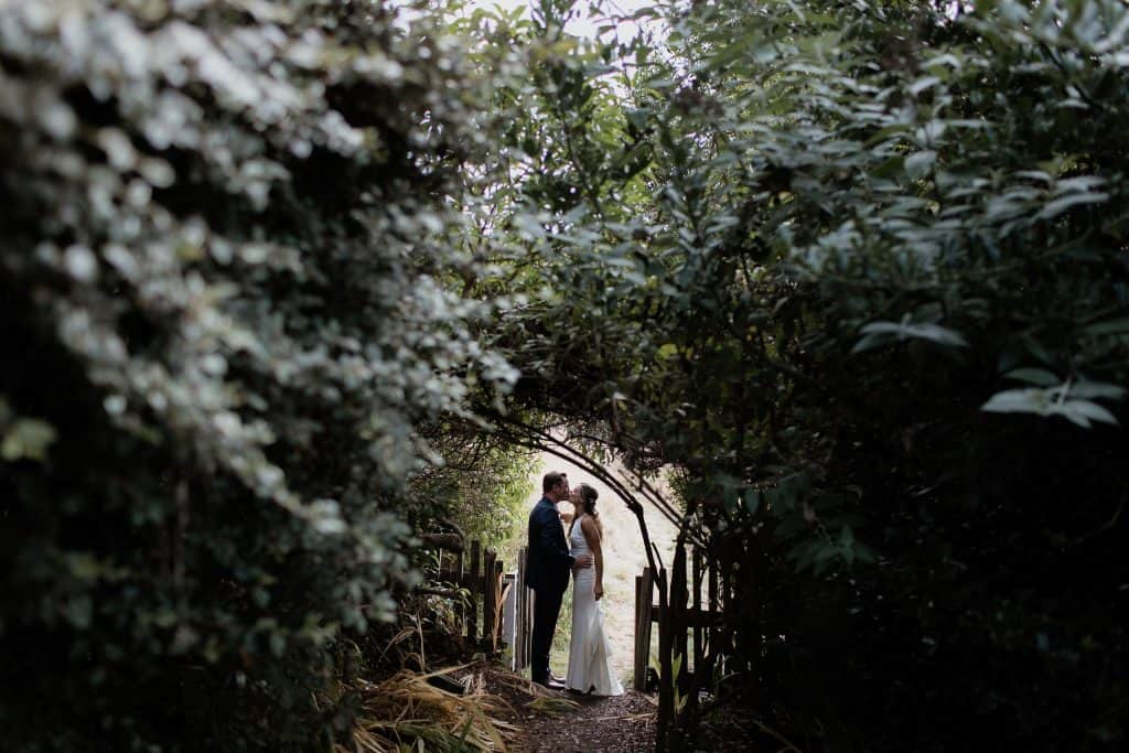 Intimate portrait after their first look at this wedding in Westport California