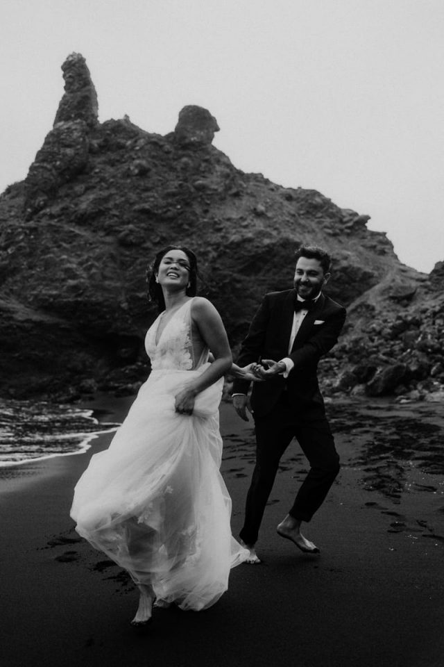 Carefree moment with this couple on their elopement in San Francisco Bay Area