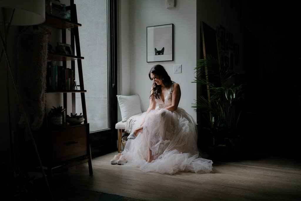 Intimate bridal portrait before eloping at the San Francisco City Hall