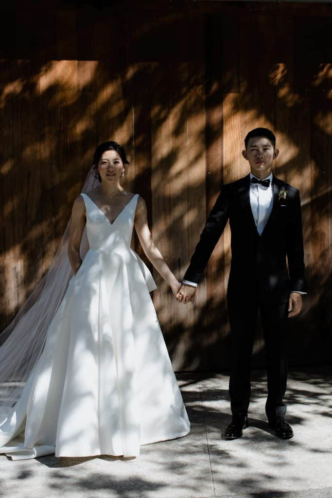Shadows and light for this portrait couple during their wedding in San Francisco South Bay