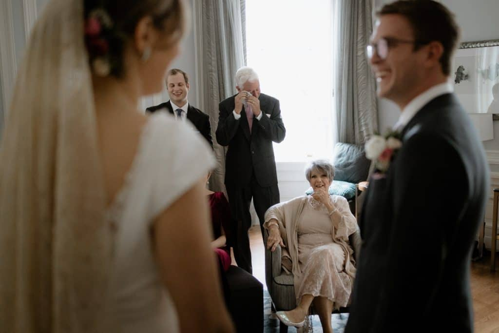 Emotional moment for the father of the bride during this micro wedding in San Francisco