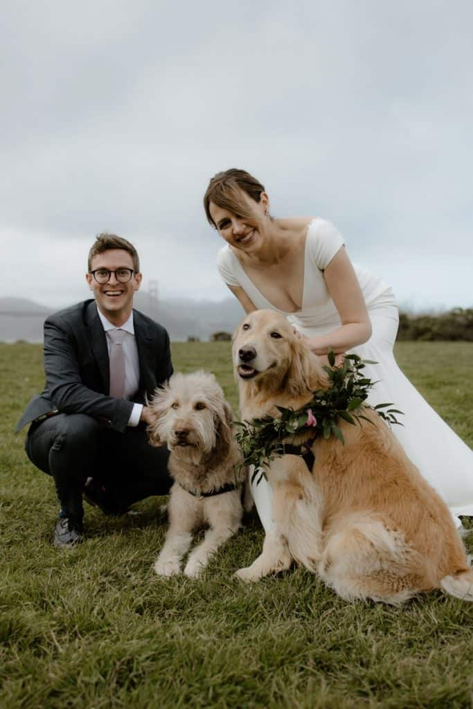 Family photo during this micro wedding at Crissy Field in San Francisco
