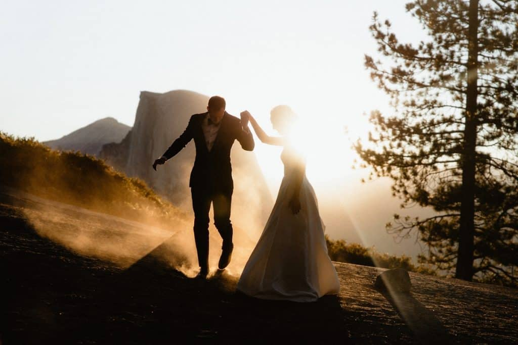 Sunrise portrait of a couple during their micro wedding in Yosemite